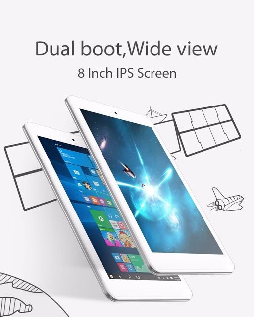CUBE iWork8 Air Tablet PC Intel Cherry Trail Z8300 64bit Quad Core 1.44GHz 8.0 inch Windows 10  Android 5.1 IPS Capacitive Touchscreen 2GB RAM 32GB ROM
