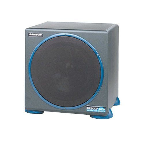 """Samson Resolv 120a 120 Watt 10 Inch Active Subwoofer by Samson. $229.99. Taking care of the low end is the Resolv120a powered subwoofer. A powerful 120 watt low frequency amplifier drives a heavy-duty 10"""" transducer, reproducing tones between 40-180 Hz. The unit has a built-in active crossover, a phase switch, an auto sleep mode and a convenient mute switch jack allowing the user to easily switch on and off the subwoofer on the fly."""