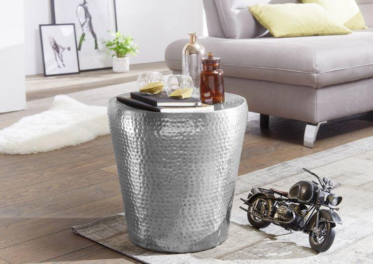 Silber Metall Wohnidee Dekoration Ablage Wohnen Beistelltisch Beistelltische Tisch