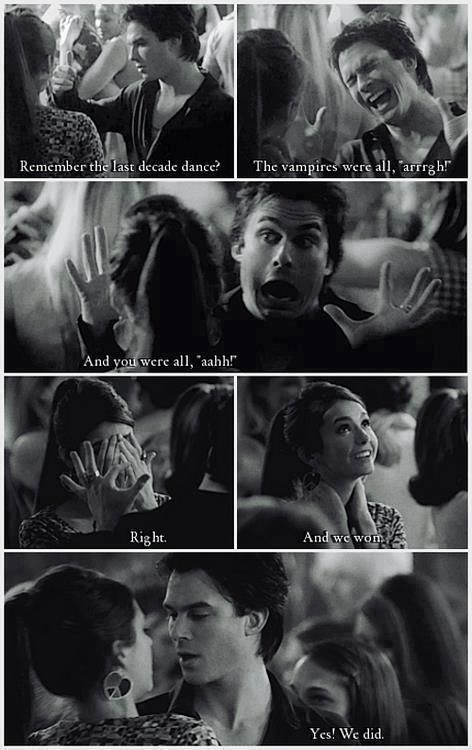 I loved this dance... The Vampire Diaries. Damon and Elena on TVD. Funny!