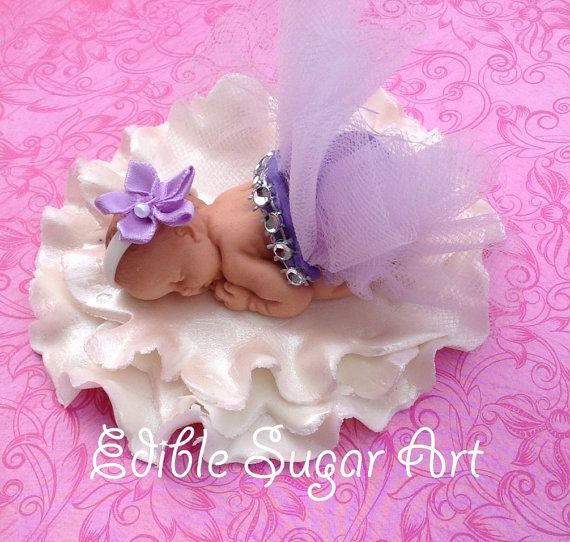 BALLERINA BABY SHOWER Cake Topper princess baby girl tulle skirt Fondant Cake Topper baby girl Tutu
