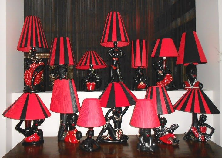 Vintage collection of Barsony Lamps with black and red shades