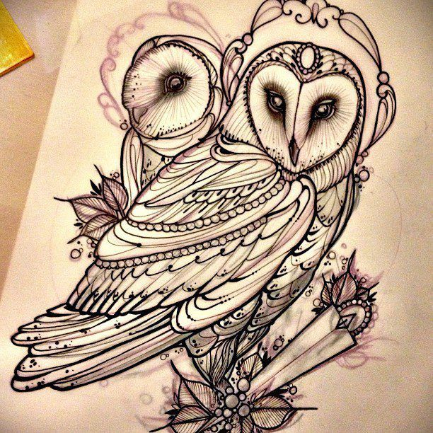 I love this! Love the idea of a big owl centred tattoo! Such a pretty drawing
