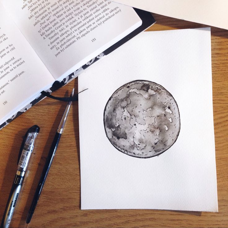 The Moon watercolor painting.