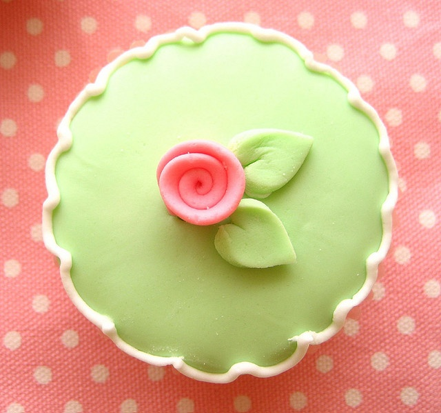 Pink and Green Cupcake.