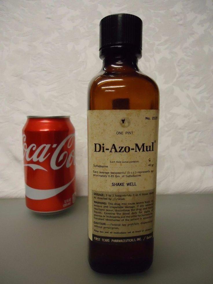 Di-Azo_Mul First Texas Pharm. Vintage Empty medicine Bottle 1 pint