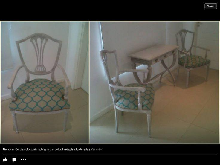 Muebles antiguos restaurados con patina gris y retapizado