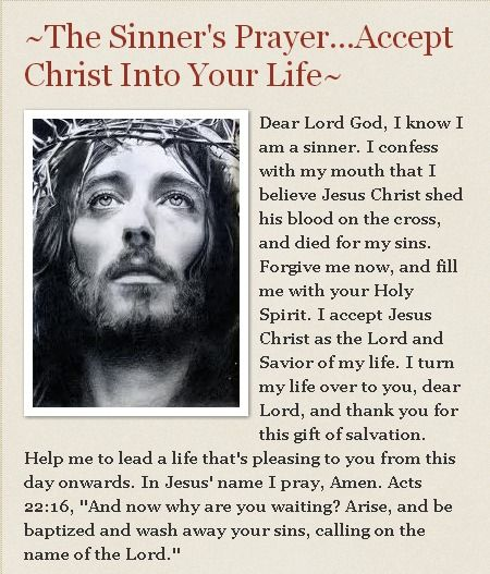 Prayer for Salvation. Accept Christ into your heart by speaking these words to…