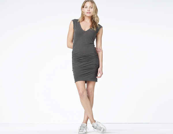 James Perse Heathered Double V Ringer Dress
