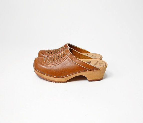 sale 20% off - Vintage Wooden Swedish Clogs with Woven Leather Uppers by Trolls - 6/7 on Etsy, $27.50