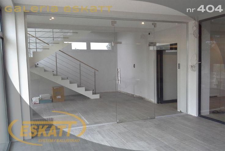 Glass office door on profile #balustrade #eskatt #construction #stairs #door