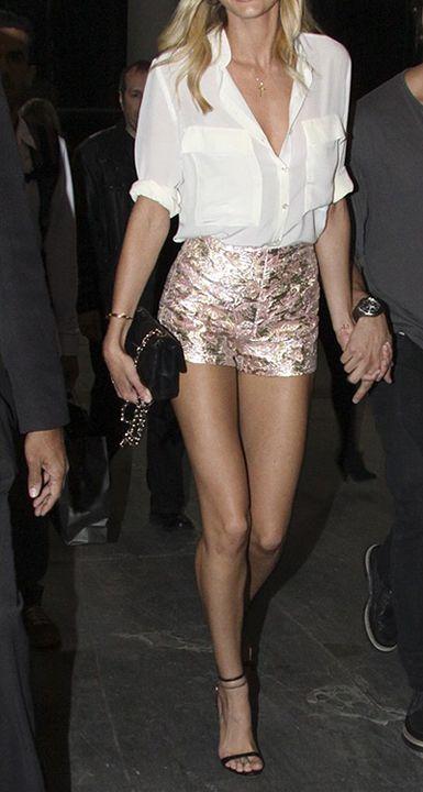 Metallic brocade shorts & silk top