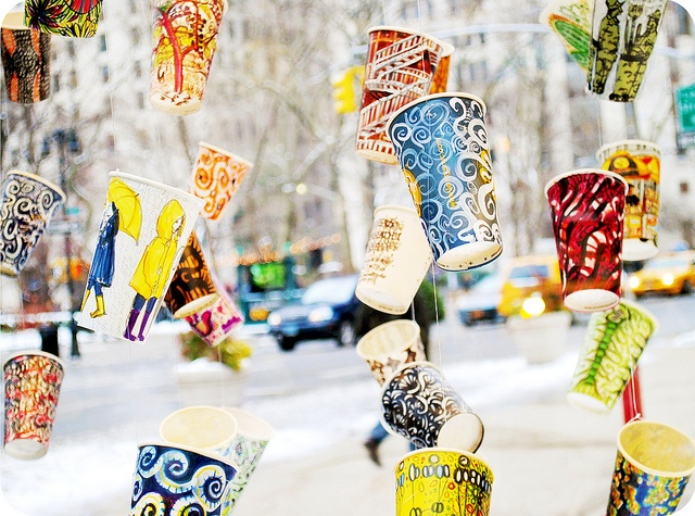 What a fantastic use of old coffee cups. Would be a great participatory activity at an event.