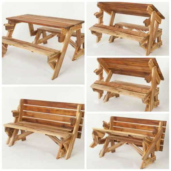 Awesome bench that folds out into a picnic table. I want one of these ...