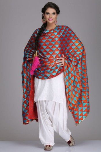 phulkari dupatta with plain suits - Google Search