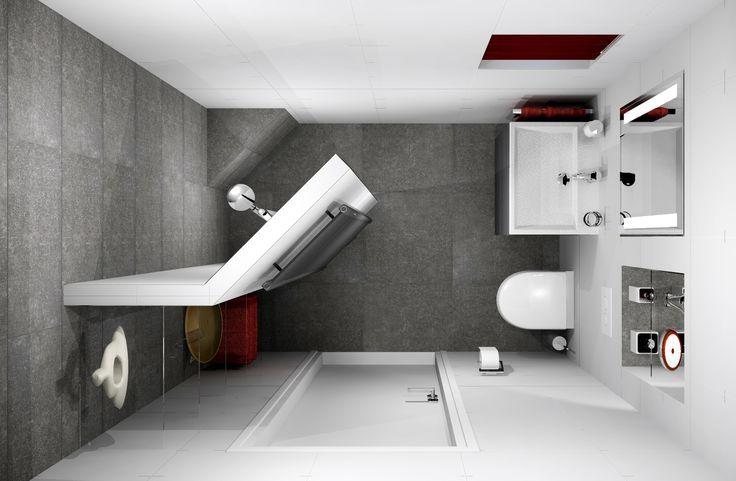 mooi: schuine wand in douche. kastruimte/legplanken aan de andere kant