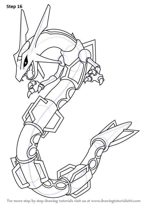 Kleurplaten Pokemon Rayquaza.Learn How To Draw Rayquaza From Pokemon Pokemon Step By