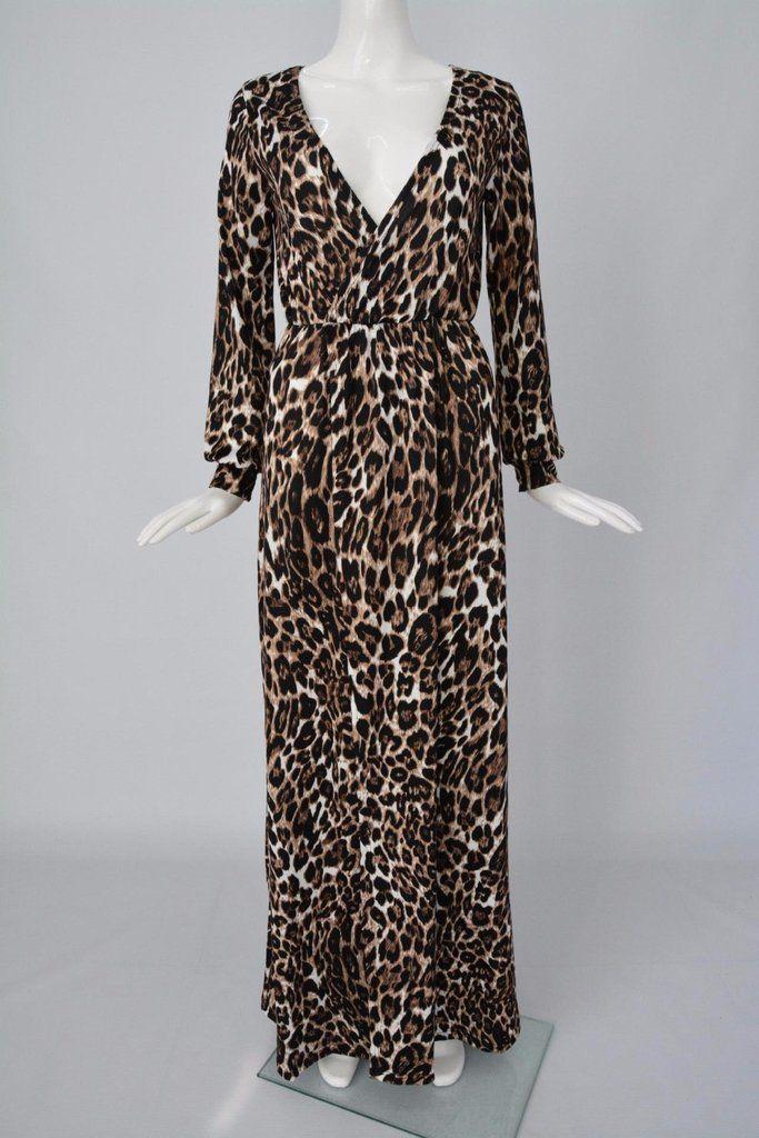 Women Sexy Deep V Neck Low Cut Slit Leopard Print Casual Prom Party Long  Dress Long Sleeve Elegant Evening Maxi Dress - Style Lavish 7dcbc7685