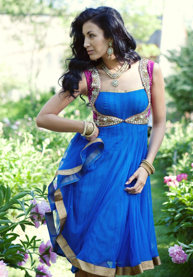 Blue Anarkali with contrasting pink cropped jacket