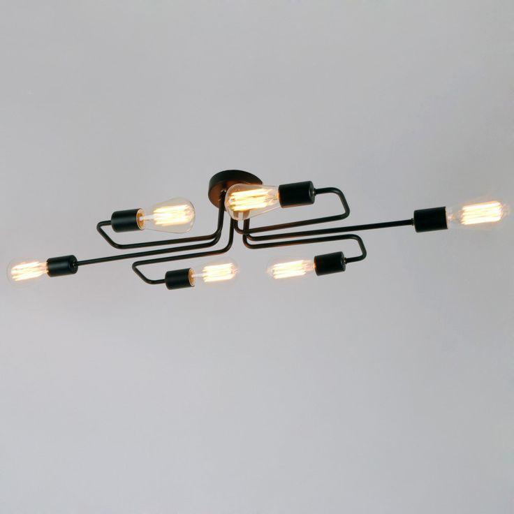 Black Vintage Barn Metal Semi Flush Mount Ceiling Light With 6 Lights
