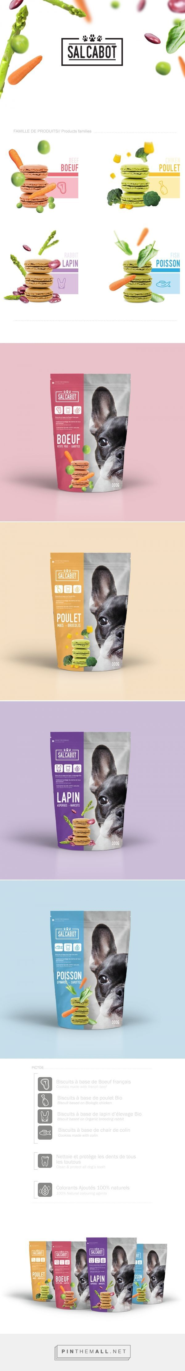 Salcabot on Behance by Célia Lajugie curated by Packaging Diva PD. Pet food packaging concept that imagines food in the shape of macaroons : )