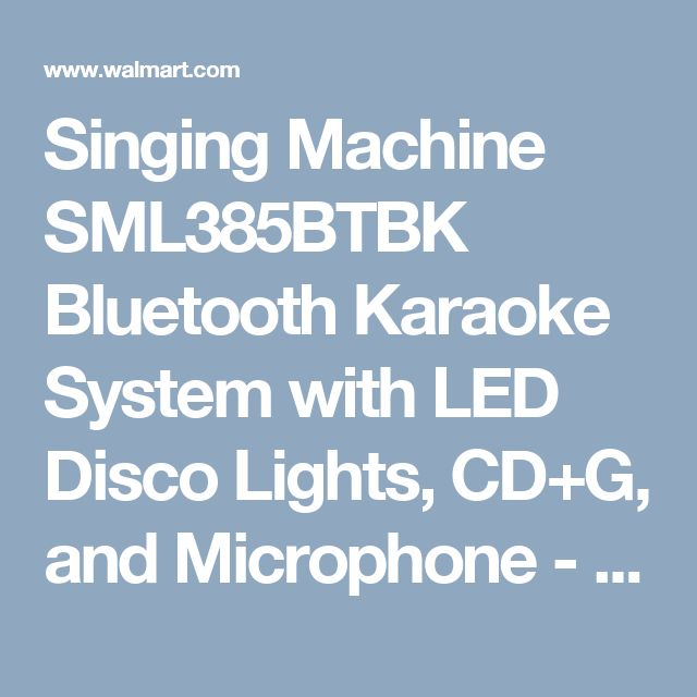 Singing Machine SML385BTBK Bluetooth Karaoke System with LED Disco Lights, CD+G, and Microphone - Walmart.com