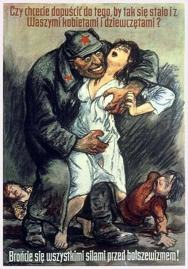 """""""Do you want to allow that for this to happen with your women and girls?"""" - Polish propaganda poster."""