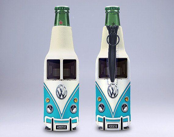 Volkswagen Classic Van Blue Bottle Koozie (KB-060)