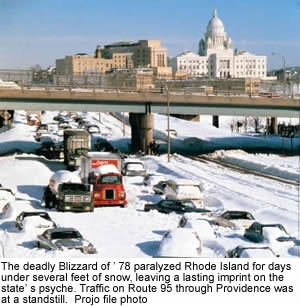 """Feb. 6, 1978, the weather page of The Providence Journal said: """"Heavy snow tonight, tapering off tomorrow."""" But what really happened? In 24 hours, 27.6 inches of snow fell in Providence."""