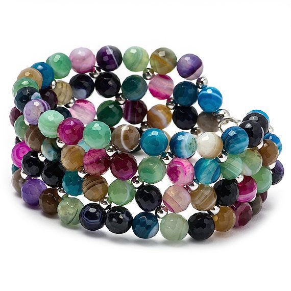 Beaded Multicolour Bracelet Gemstone Bracelet Rhodium by MYNESS