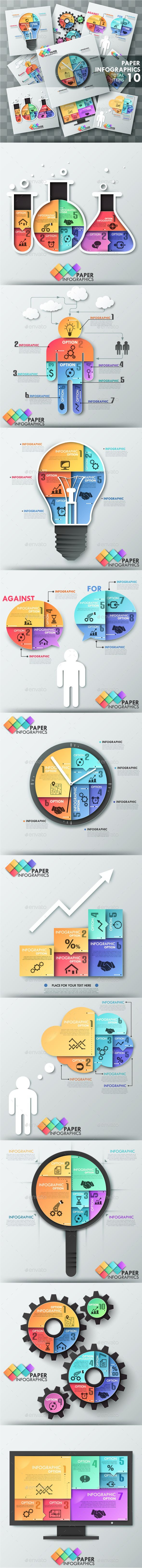 The Third Bundle. Paper Infographic Templates #design Download: http://graphicriver.net/item/the-third-bundle-paper-infographic-templates/9241597?ref=ksioks