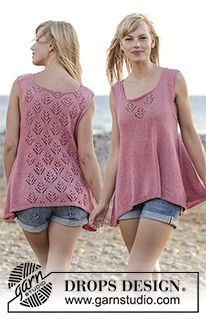 """Woodstock - Knitted DROPS top with lace pattern and A-shape, worked top down in """"Belle"""". Size: S - XXXL. - Free pattern by DROPS Design"""
