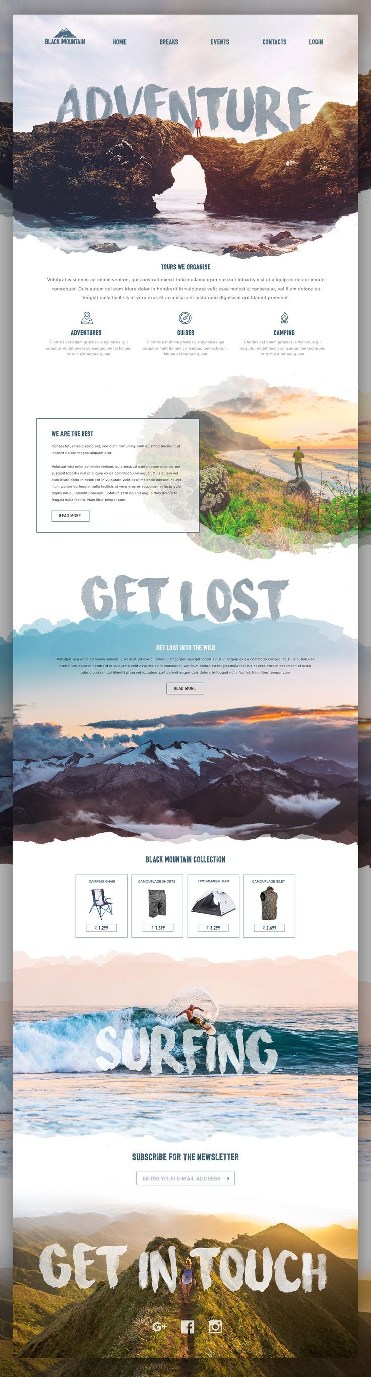 Landingpage for a adventure travel website