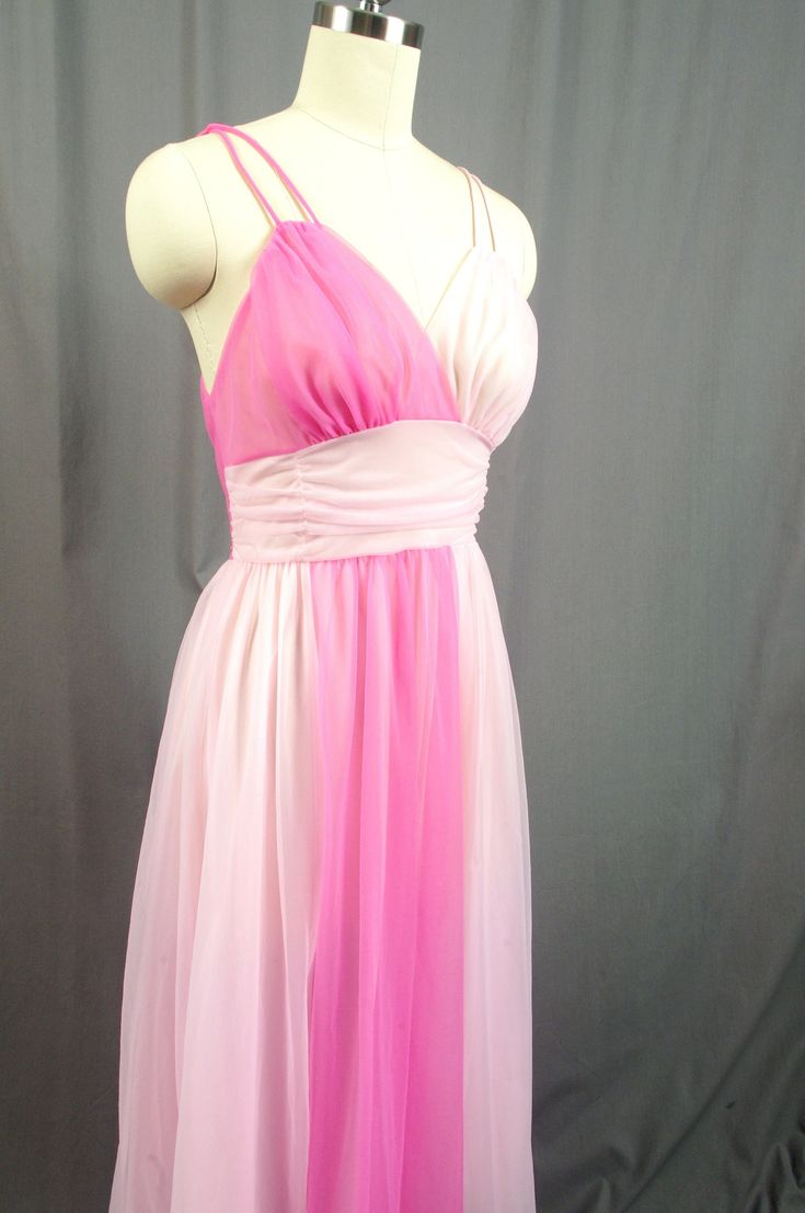 1950s Vanity Fair Lingerie, Pink Chiffon Peignoir, Pink Negligee, Pink Nightgown