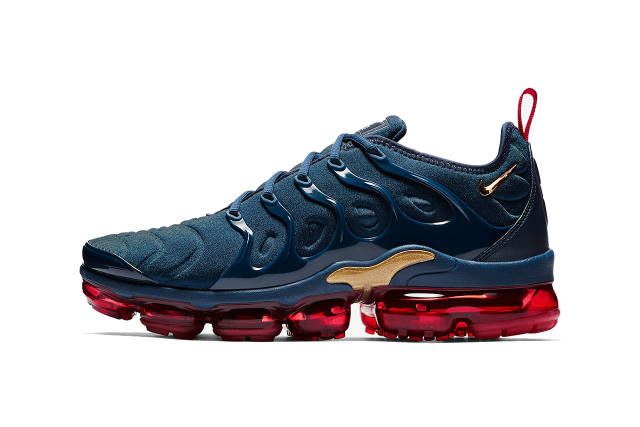 Nike S New Air Vapormax Plus Dons Cool Blue Red Gold Colorway