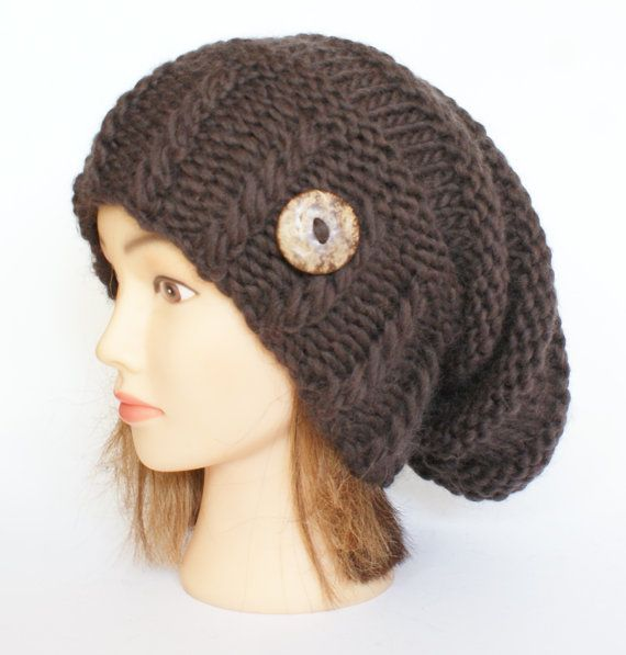 Slouchy beanie hats dark brown slouch hat beanies by Johannahats, $41.00