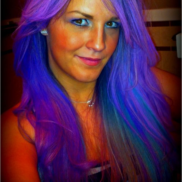 purple blue hair | Purple, Blue and green hair chalk!