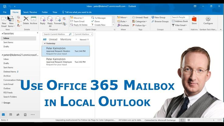 *Use an Office 365 mailbox in a local Outlook*Peter Kalmström shows how you can add an Office 365 mailbox to your local Outlook: https://www.kalmstrom.com/Tips/Office-365-Course/Set-Up-Outlook-With-Office-365.htm