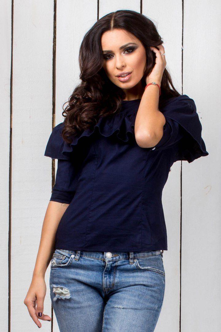 """Стильная блузка с рюшами синего цвета: продажа, цена в Одессе. блузки и туники женские от """"Интернет-магазин стильной одежды """"x04y"""""""" - 477743624"""