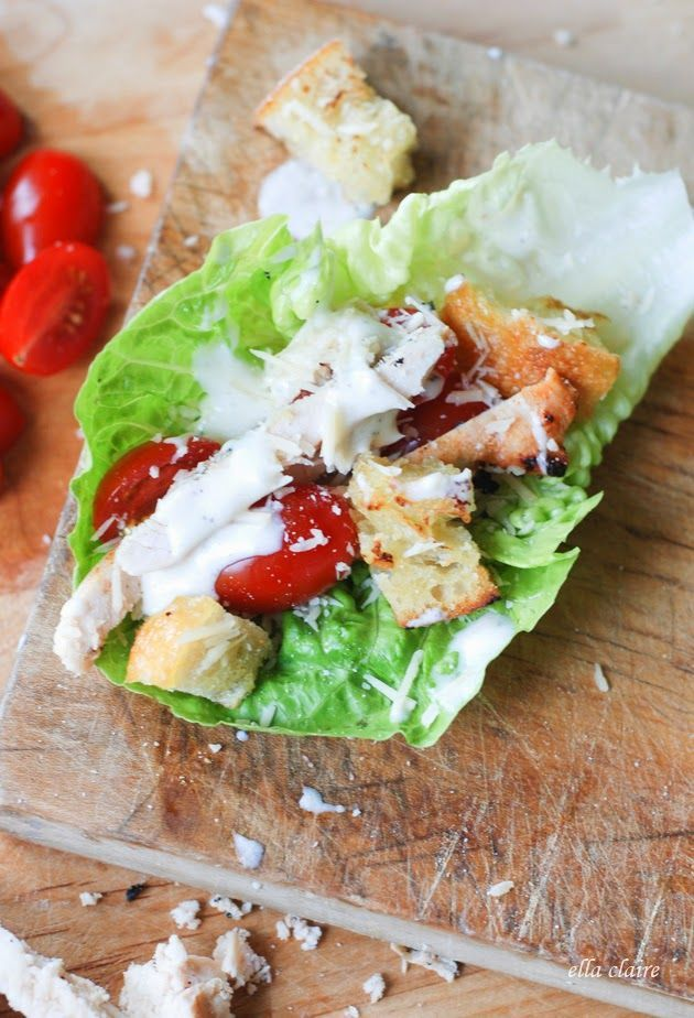 Grilled Chicken Caesar Lettuce Wraps with Homemade Parmesan Croutons