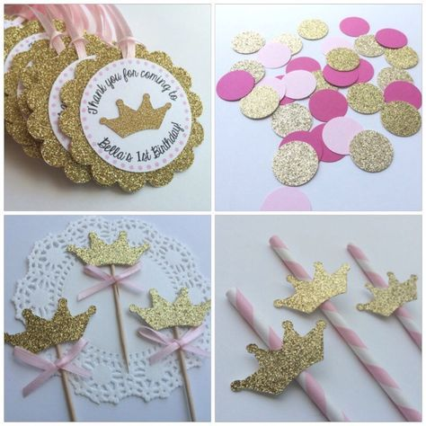 Pink and Gold  Princess Party Package.  Gold Glitter.  Tiara.  Princess Party.  Cupcake Toppers, Personalized Tags, Straws and COnfetti by PaperTrailbyLauraB on Etsy https://www.etsy.com/listing/202718466/pink-and-gold-princess-party-package