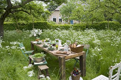 I've found picking our veggies and sitting out in the meadow is a lovely way to enjoy it all...