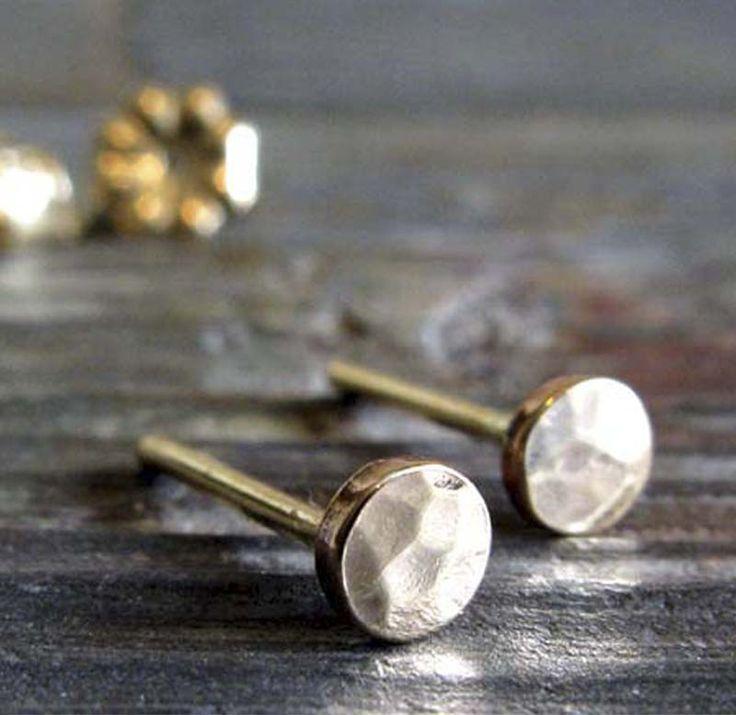 Tiny Hammered Dot Stud Earrings