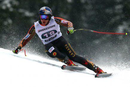 28 février 2014 - Erik Guay quatrième de la descente de Kvitfjell en Norvège. - Photo Alessandro Trovati, AP.