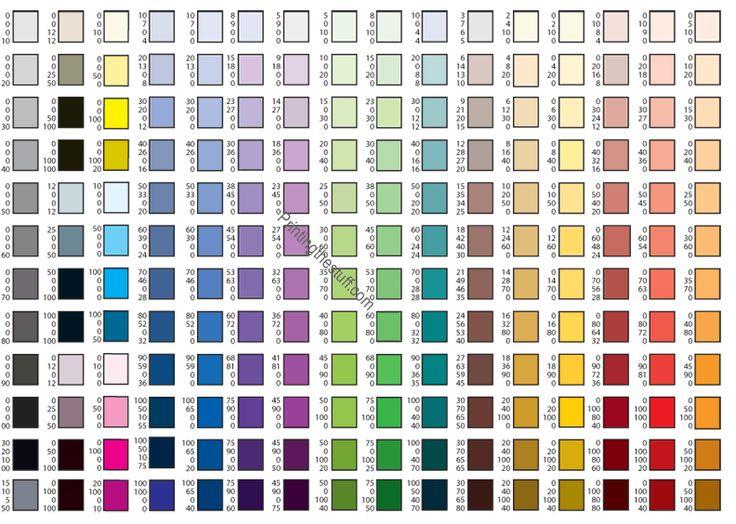 145 best images about Colour Charts – Sample Cmyk Color Chart
