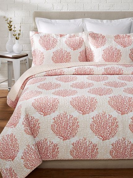 laura ashley coral coast quilt set. Black Bedroom Furniture Sets. Home Design Ideas
