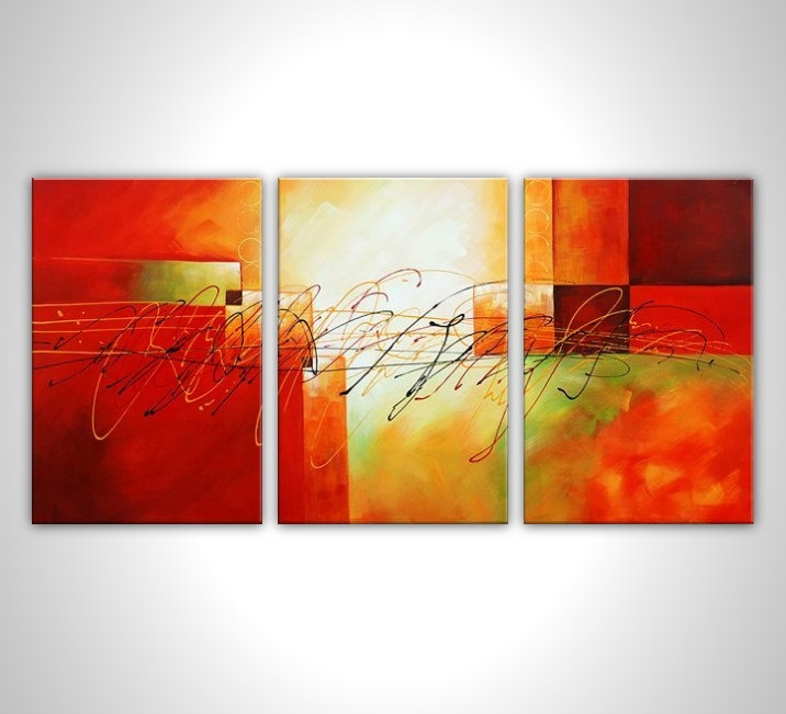 Modern art - Modern painting - multi panel abstract painting - contemporary art - abstract art - stretched canvas ready to hang. $165.00