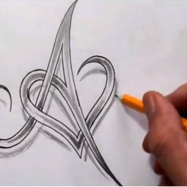 Initial A And Heart Combined Together Celtic Weave Style Letter Throughout Letter A In Different Tattoo Styles Celtic Weave Initials Weave Style