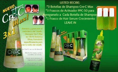 SHAMPOO CRE-C MAX + Activador PPC 50 + Tonico Crecimiento PPC 50 Leave in by Shampoo Crec Max + PPC 50 + Tonico Crecimiento PPC 50 Leave in. $49.99. cre-c max. hair loss. ppc50. ginseng. crece. Product Features With a natural origin , shampoo CRE-C MAX finds its strength on mexican herbs and plants , its formula against hair falling was developed totally by natural extracts. Product Description Each bottle of shampoo Cre-C Max was elaborated by more than 1 kilo of plants lik...