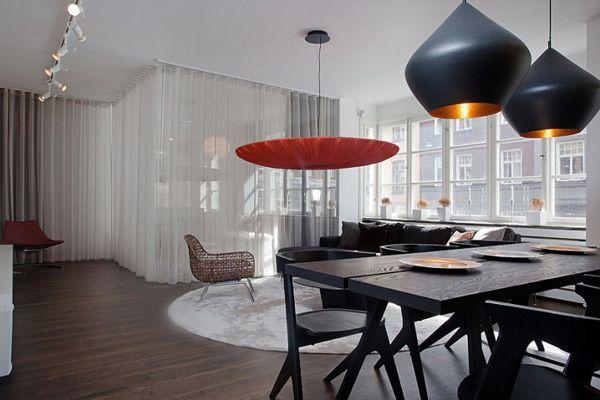 Daniel-Nystrom-Stockholm-Loft03: Scandinavian Design, Lights Fixtures, Swedish Interiors, Interiors Design, Home Decor, Black Chairs, New York Loft, Black Sofa, Daniel Nyström